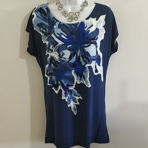 INC Petite Medium blue floral embellished